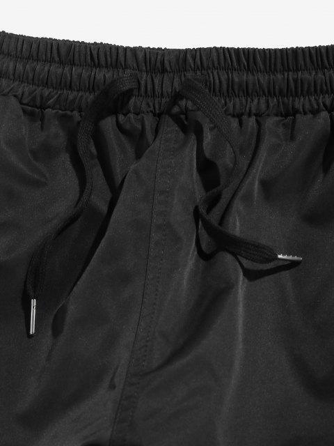 ZAFUL Pantalones Jogger de Multi-bolsillos de Cordón - Negro M Mobile