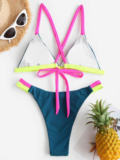 ladies ZAFUL Neon Strap Criss Cross Tanga Bikini Swimwear - DEEP GREEN M Mobile