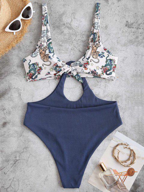 ZAFUL Ribbed Tiger Snake Print Oriental Plunging Trikini Swimsuit - ازرق غامق M Mobile