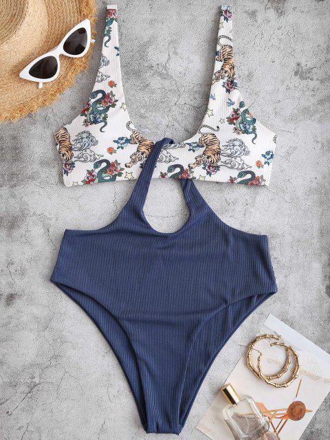 Costume da Bagno Bagno Leopardato con Scollo Profondo e Stampa a Tigre di ZAFUL - Profondo blu XL Mobile