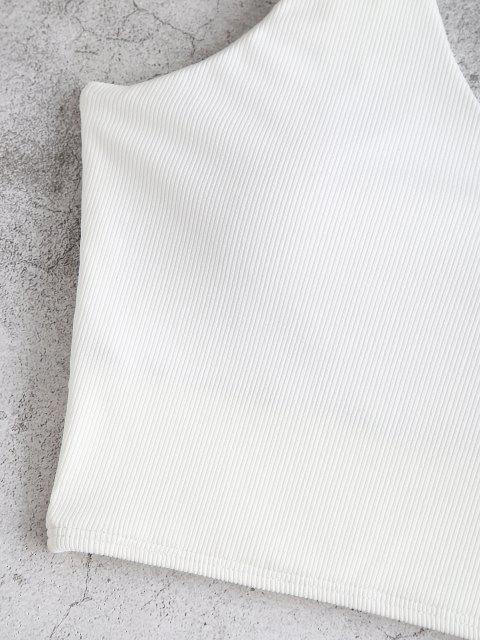 ZAFUL Geripptes Kurzes Bikini-Top - Weiß XL Mobile