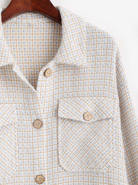 affordable ZAFUL Flap Pockets Plaid Tweed Shacket - BABY BLUE M Mobile