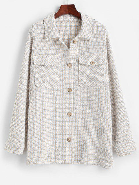 hot ZAFUL Flap Pockets Plaid Tweed Shacket - BABY BLUE L Mobile