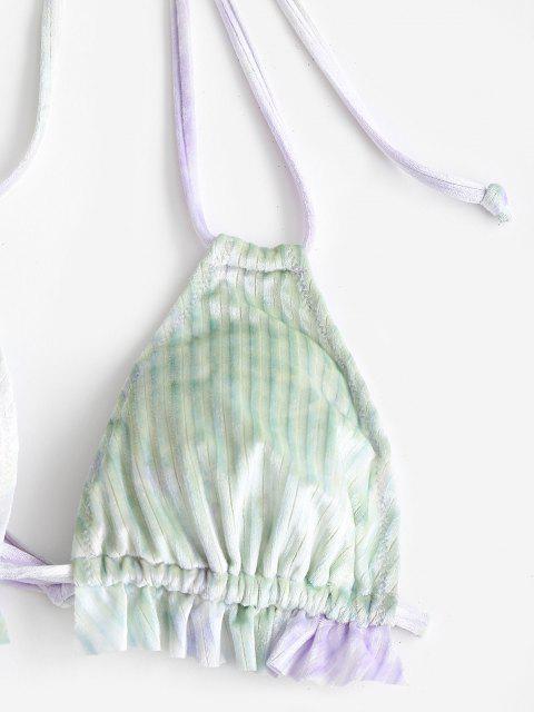 ZAFUL Costume da Bagno Bikini Volant in Velluto - Verde chiaro S Mobile