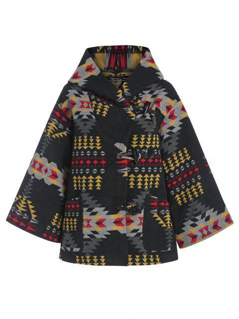ZAFUL Hooded Tribal Jacquard Wool Blend Coat - أسود L Mobile