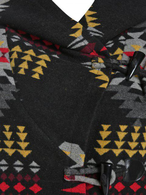 ZAFUL Abrigo de Mezcla de Lana con Capucha Tribal Jacquard - Negro L Mobile