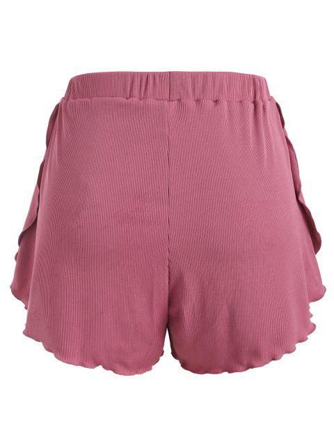 womens ZAFUL Plus Size Ribbed Bowknot Lettuce Trim Tulip Swim Shorts - LIGHT PINK XXXL Mobile