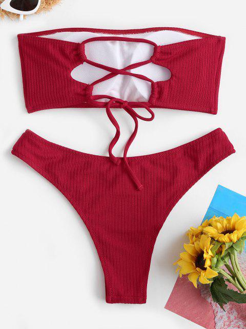 ZAFUL Maillot de Bain Bikini Tube Côtelé à Lacets - Rouge S Mobile