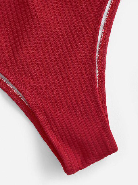 shop ZAFUL Ribbed High Cut Solid Bikini Bottom - RED S Mobile