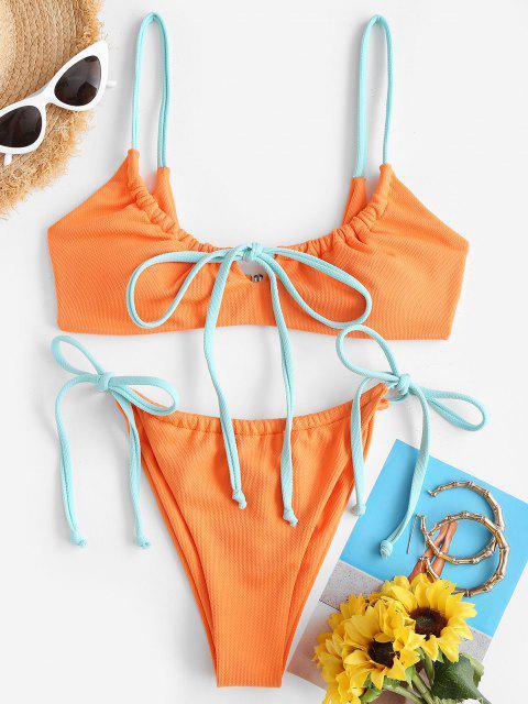 ZAFUL Costume da Bagno Bikini Annodato a Contrasto con Lacci Laterali - Arancio S Mobile