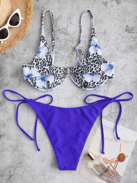 outfit ZAFUL Leopard Floral Tie Monowire Bikini Swimwear - BLUE M Mobile