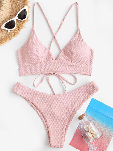 ZAFUL Textured Cross Lace-up Plunge Bikini Swimwear - وردي فاتح L Mobile