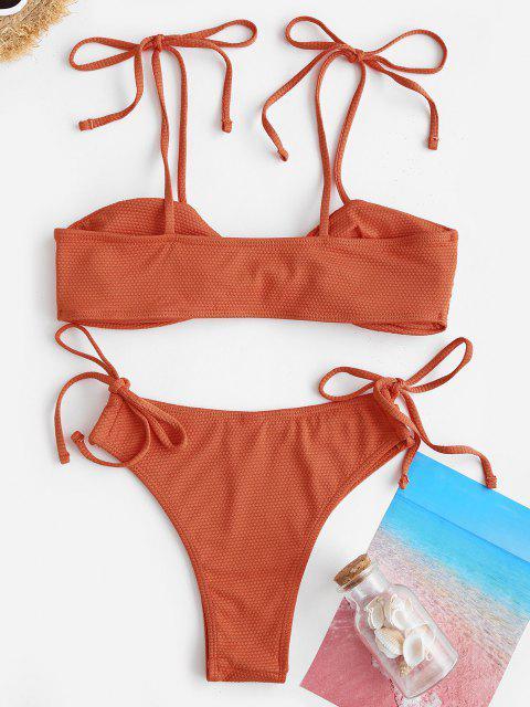 ZAFUL Costume da Bagno Bikini a Incrocio con Fiocco Laterali - Arancio S Mobile