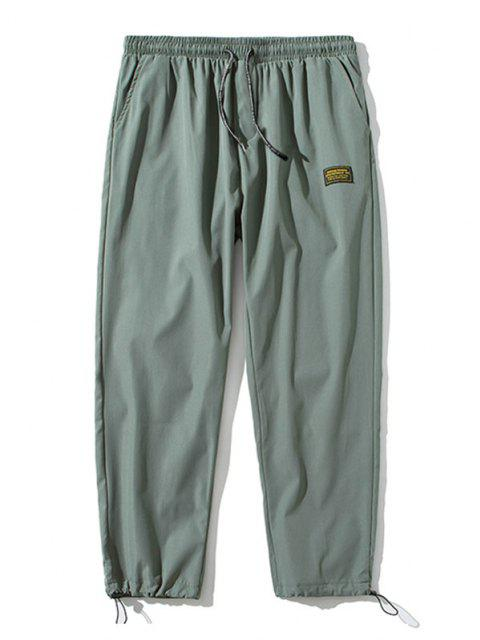 lady Elastic Waist Letter Patched Pants - ARMY GREEN XS Mobile