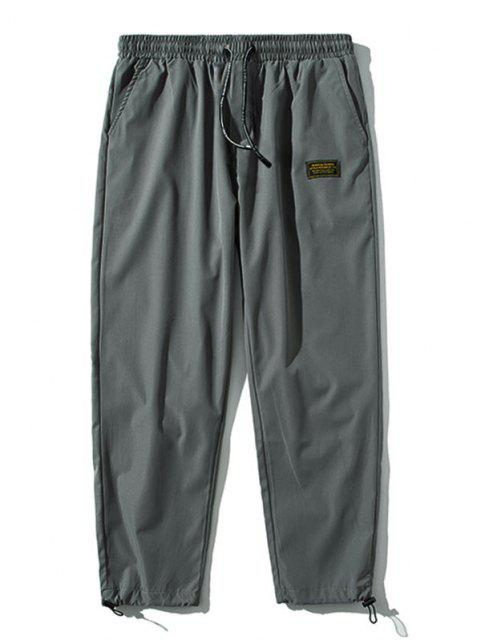 new Elastic Waist Letter Patched Pants - DARK GRAY M Mobile