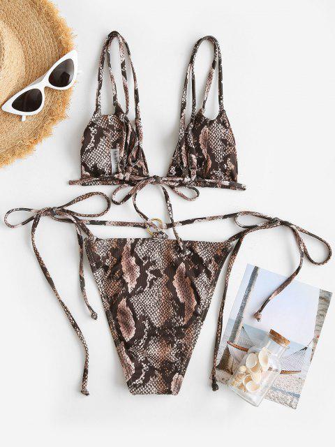 Costume da Bagno Bikini Annodato a Costine con Lacci Laterali di ZAFUL - colore di caffè scuro  S Mobile
