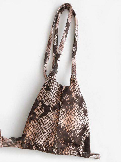 unique ZAFUL Snakeskin Ribbed Dual Straps Tie Side Bikini Swimwear - DEEP COFFEE M Mobile
