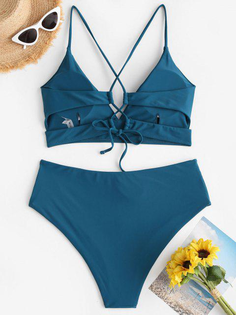 buy ZAFUL Plus Size Lace-up Cross High Waisted Bikini Swimwear - DEEP GREEN XXXL Mobile