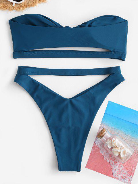 Costume da Bagno Bikini Annodato a Fascia di ZAFUL a Taglio Alto - Verde intenso S Mobile