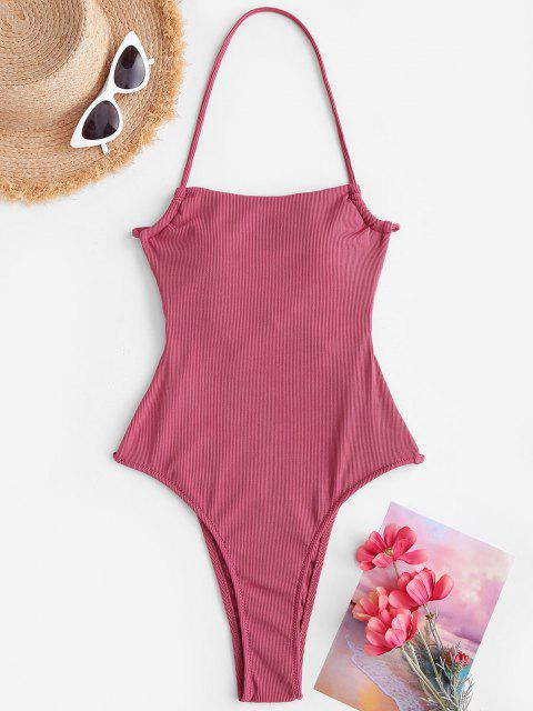 fashion ZAFUL Ribbed Tie Backless One-piece Swimsuit - LIGHT PINK S Mobile