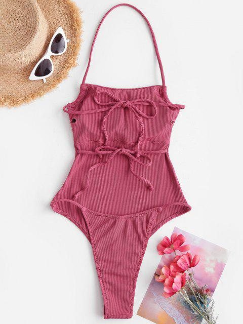 chic ZAFUL Ribbed Tie Backless One-piece Swimsuit - LIGHT PINK M Mobile