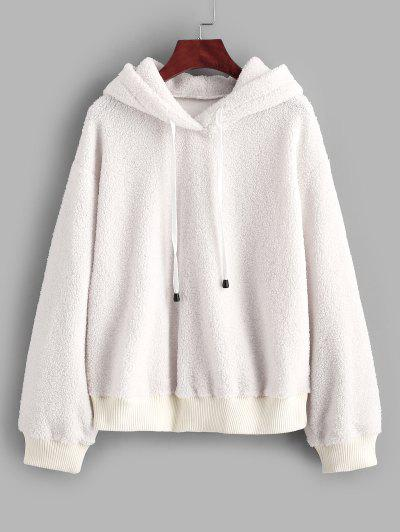 ZAFUL Fluffy Faux Fur Tetxured Hoodie - White S