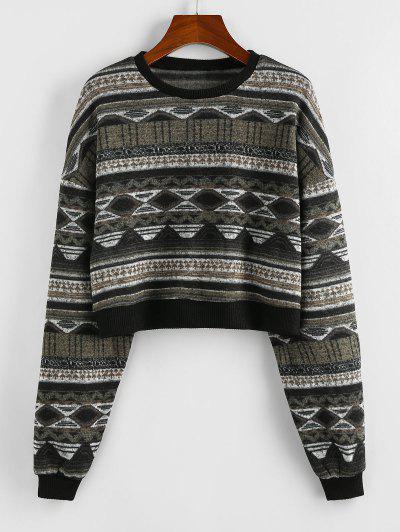 ZAFUL Drop Shoulder Crew Neck Tribal Graphic Sweater - Black S