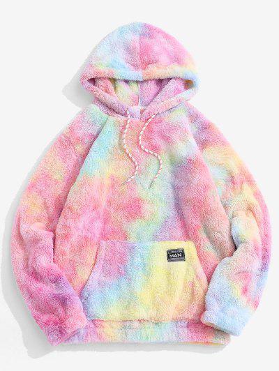 Applique Detail Tie Dye Pattern Fluffy Hoodie - Light Pink M