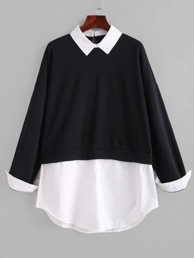 Flat Collar French Terry 2fer Oversized Sweatshirt - Black S
