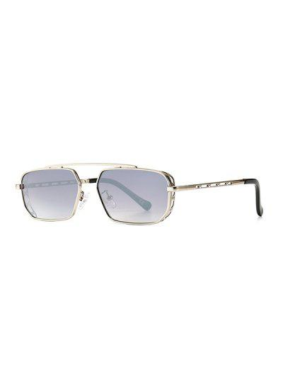 Metal Bar Narrow Irregular Sunglasses - Platinum