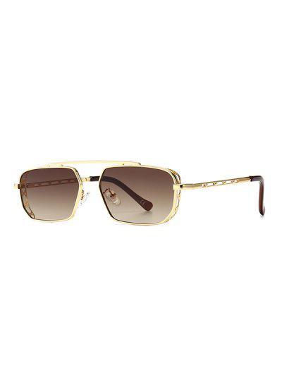 Metal Bar Narrow Irregular Sunglasses - Light Brown