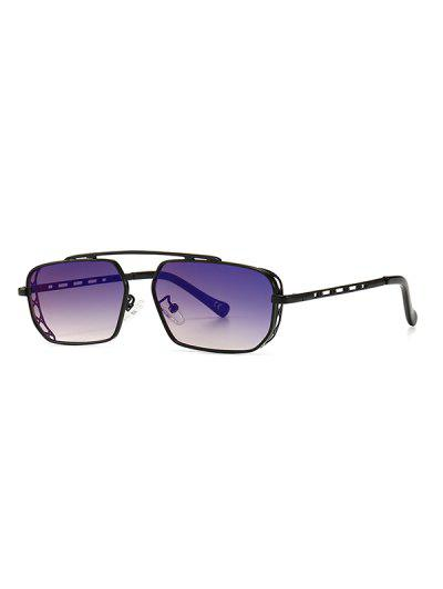 Metal Bar Narrow Irregular Sunglasses - Deep Blue