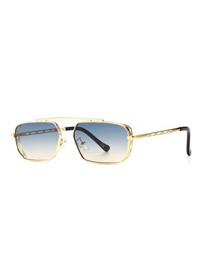 Metal Bar Narrow Irregular Sunglasses - Light Blue