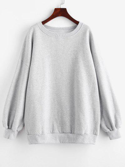 Crew Neck Fleece Lined Oversized Sweatshirt - Gray L