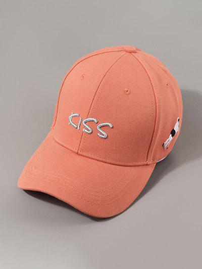 Letters Kiss Embroidery Baseball Cap - Sunrise Orange