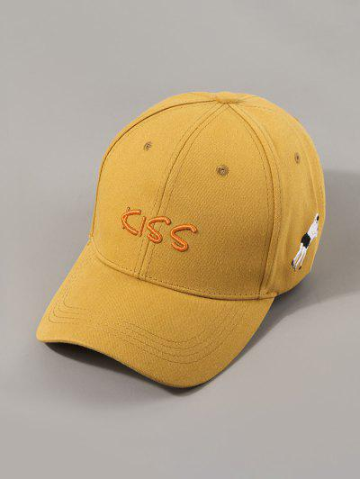Letters Kiss Embroidery Baseball Cap - Bee Yellow