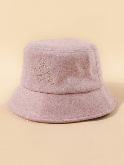 Letters Embroidery Woolen Cloth Hat - Light Pink