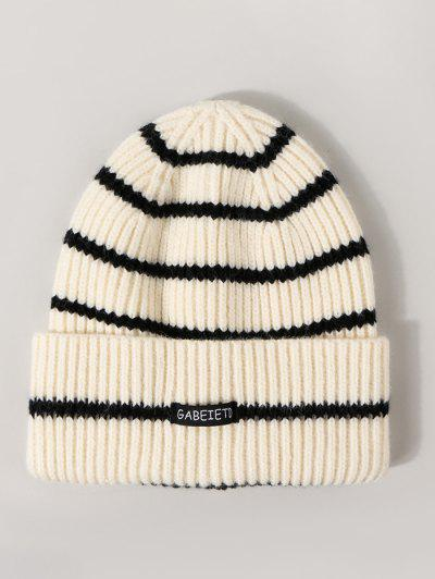 Striped Ribbed Knitted Hat - White
