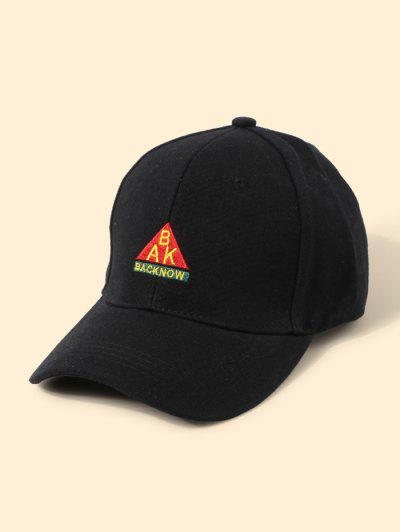 Letters Embroidered Graphic Baseball Cap - Black