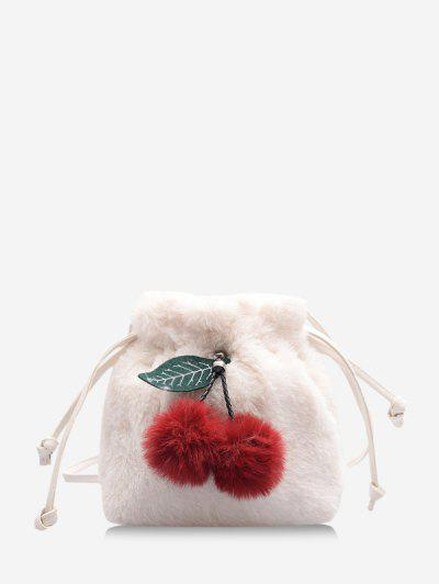 Fruit Detail Faux Fur Fluffy Crossbody Bag - Milk White