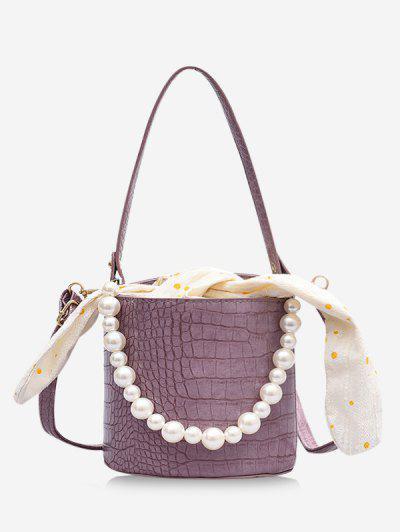 Polka Dot Print Bowknot Faux Pearl Bucket Bag - Lilac