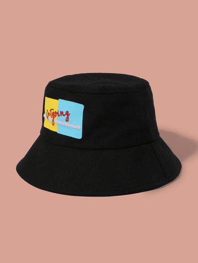 Embroidery Graphic Bucket Hat - Black