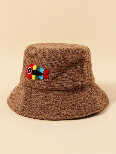 Embroidered Fish Knitted Bucket Hat - Coffee