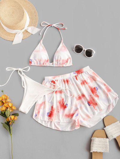 ZAFUL Ribbed Tie Dye Three Piece String Bikini Swimsuit - Light Pink M