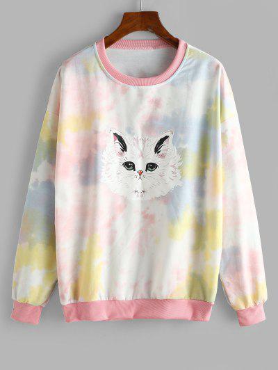 Tie Dye Funny Cat Oversized Drop Shoulder Sweatshirt - Multi-a M
