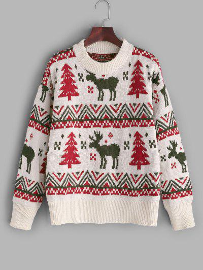 Christmas Tree Elk Drop Shoulder Sweater - White