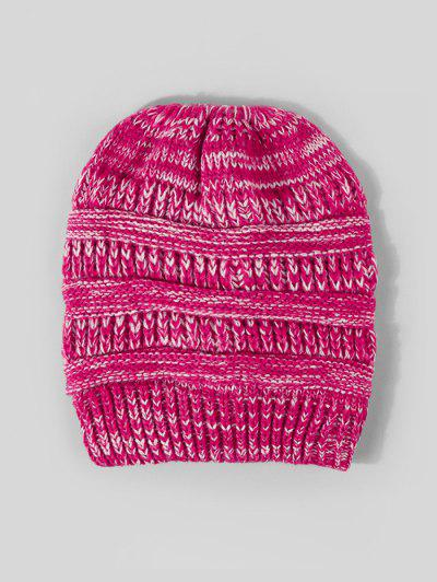 Mixed Color Knitted Hat - Rose Red