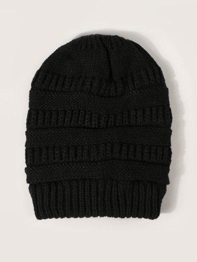 Solid Ribbed Knitted Hat - Black