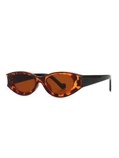 Retro Farbblock Oval Sonnenbrille - Leopard