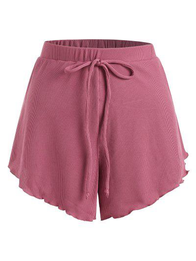 ZAFUL Übergröße Shirt Mit Geripptem Schleife Und Kopfsalatbesatz - Hell-pink Xxl